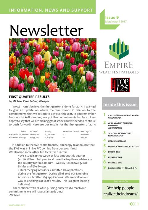 EWS Newsletter March & April 2017