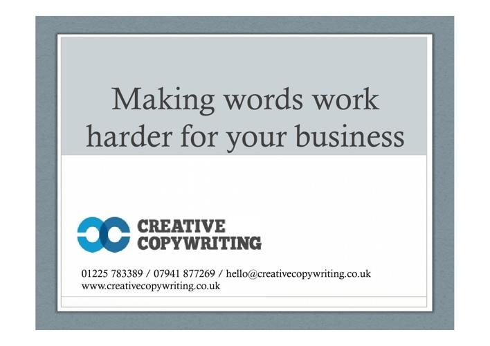 Creative Copywriting: Work