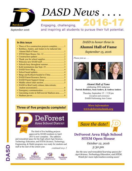 DASD News, September 2016