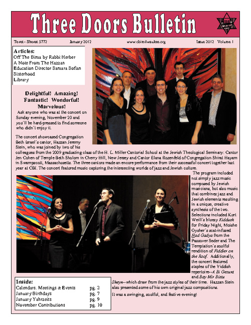 Three Doors Bulletin - January 2012