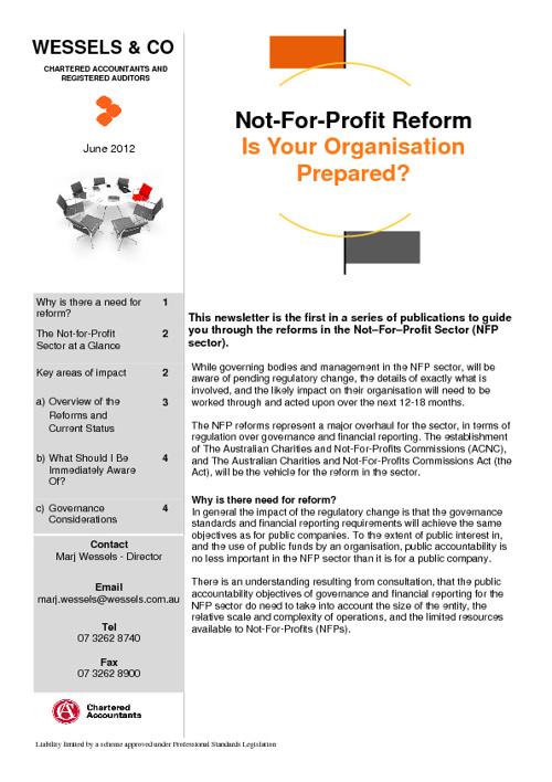 Not for profit newsletter June 2012