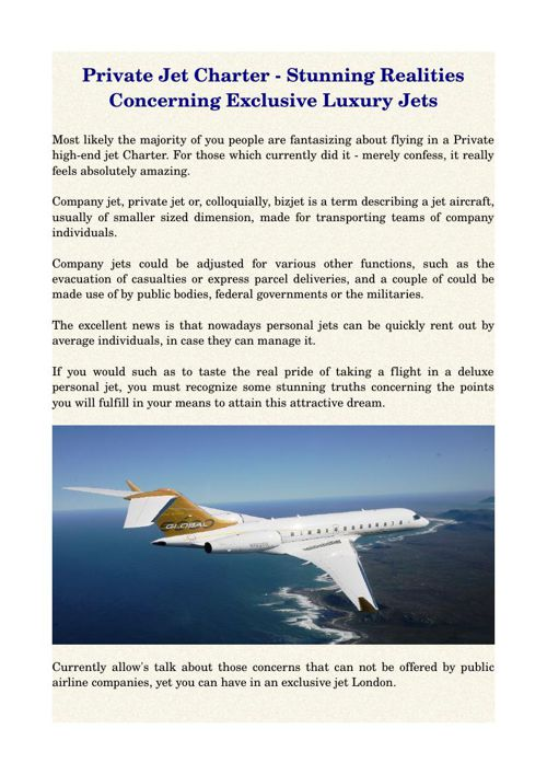 Private Jet Charter - Stunning Realities Concerning Exclusive Lu