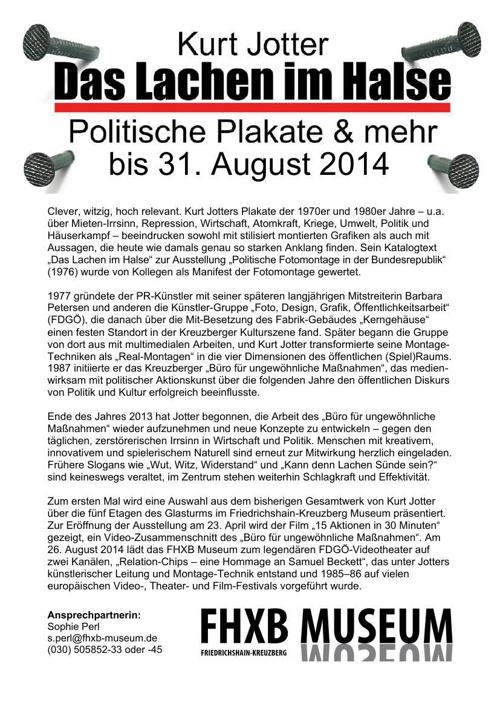 """""""Das Lachen im Halse"""" bis 31. August 2014 im FHXB Museum"""