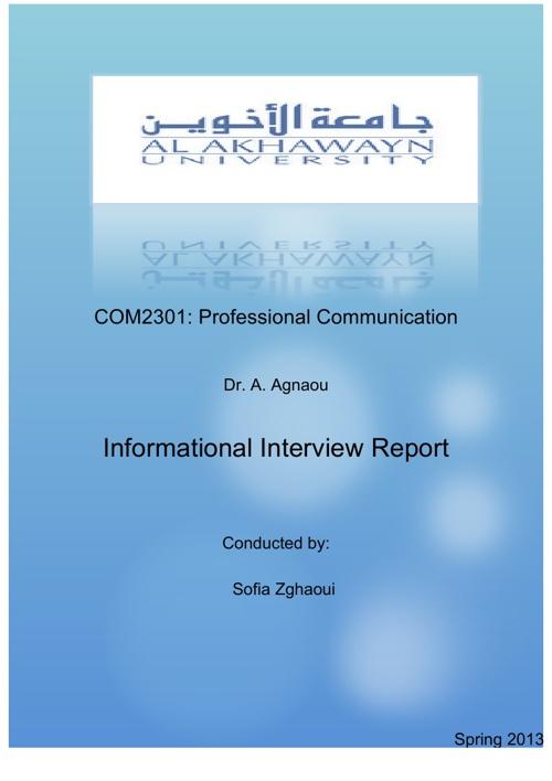 Informational Interview Report
