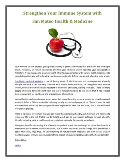 san Mateo Health and Medicine
