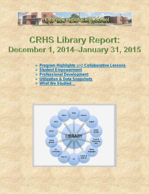 CRHS Library Report: Dec 2014 - Jan 2015