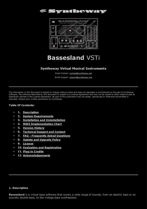 Bassesland VSTi v1.0 - Virtual Electric, Acoustic and Synthesize