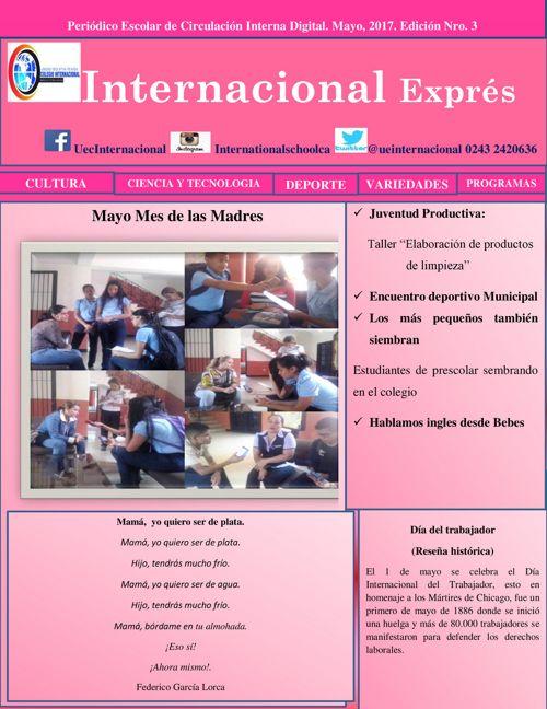 Periódico Escolar Colegio Intencional, Maracay. Venezuela
