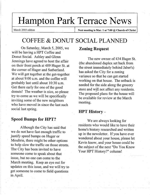 HPT Newsletter March 2005