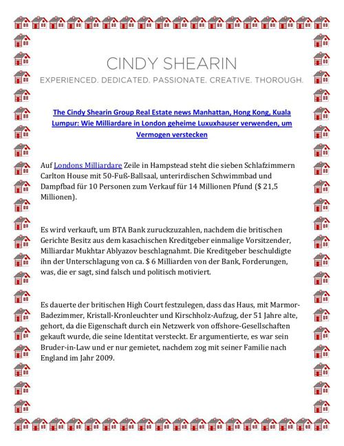 The Cindy Shearin Group Real Estate news Manhattan, Hong Kong, K