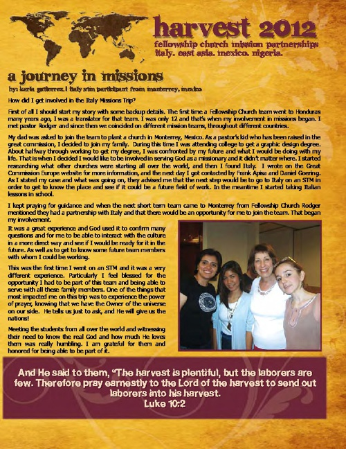 2012 Fellowship Church Harvest Newsletter