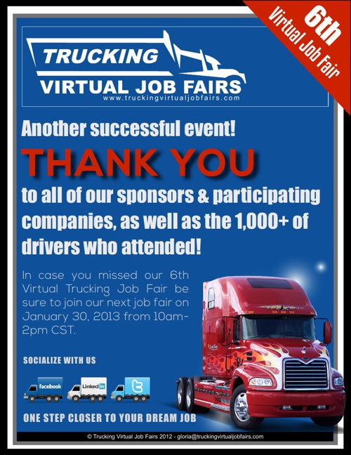 Trucking Virtual Job Fairs 01/16 Company Directory