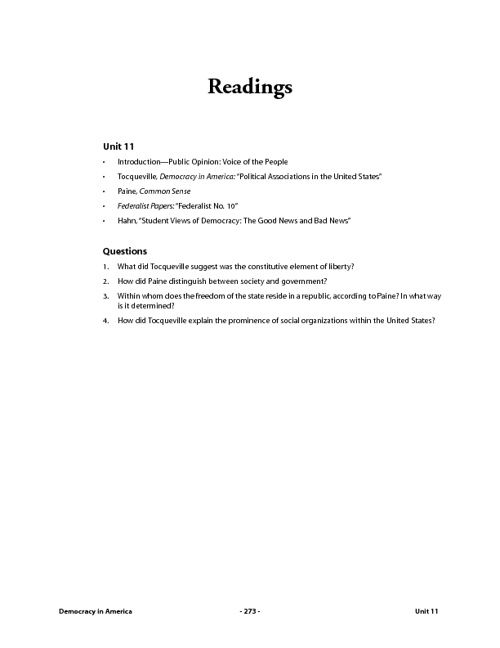 Reading Packet 1: Public Opinion: Voice of the People