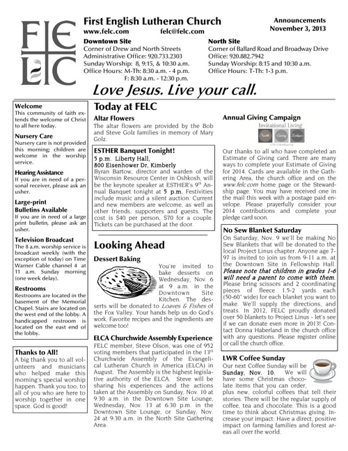 FELC Weekly Announcements for November 3, 2013