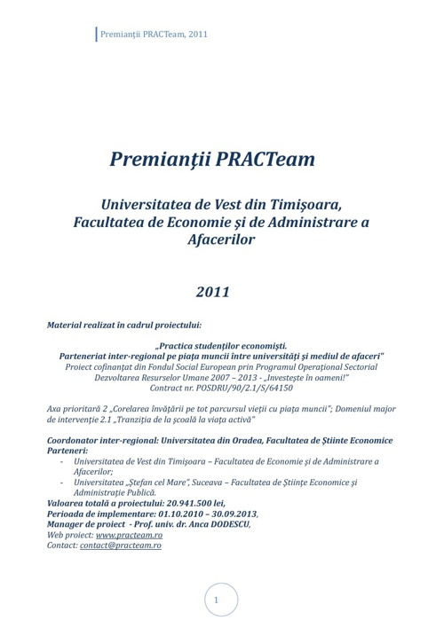 Volum prezentare Premianți Timișoara, 2011