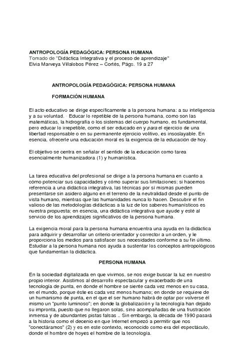 ANTROPOLOGÍA PEDAGÓGICA VILLALOBOS