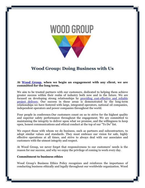 Wood Group: Doing Business with Us