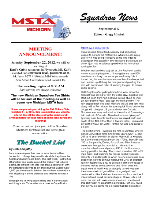 September 2012 Michigan MSTA Newsletter