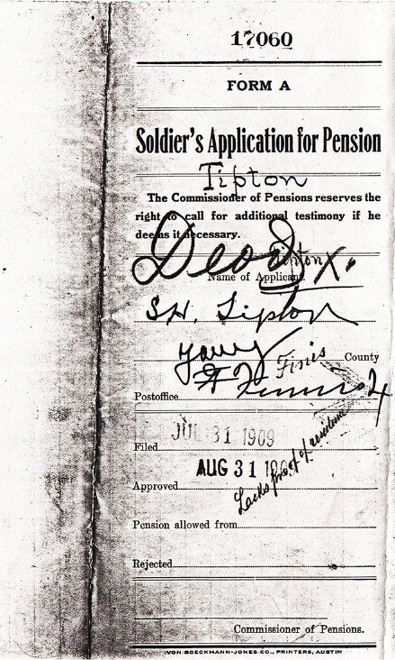 S H Tipton's Pension Application