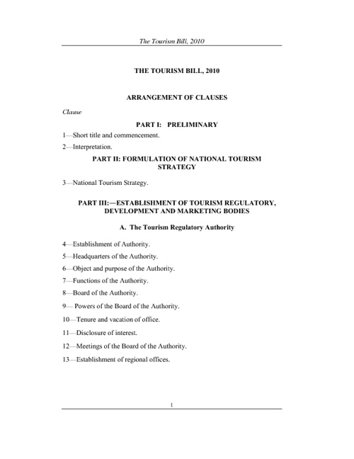 The Tourism Bill