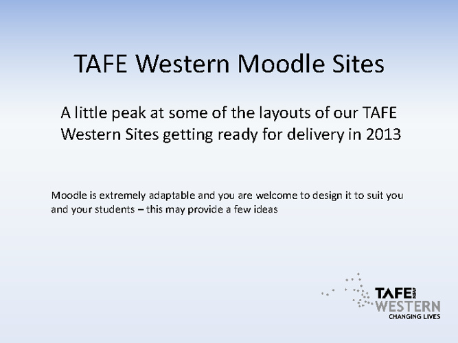 TAFE Western Moodle Sites