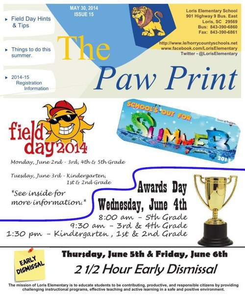 Loris Elementary Newsletter - May 30, 2014