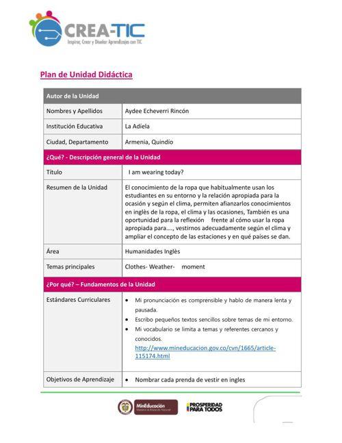 plan unidad didactica Ingles