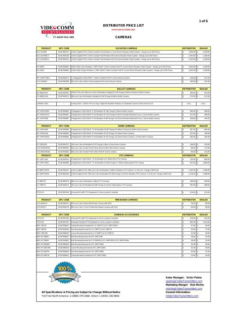 DISTRIBUTOR PRICE LIST - OCTOBER 2014