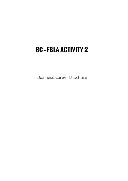 OCTOBER BC - FBLA ACTIVITY 2 Business Career Brochure