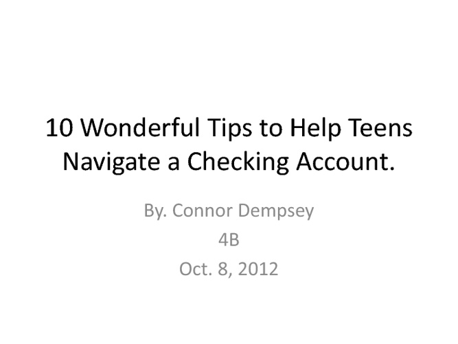 10 Checking Tips.