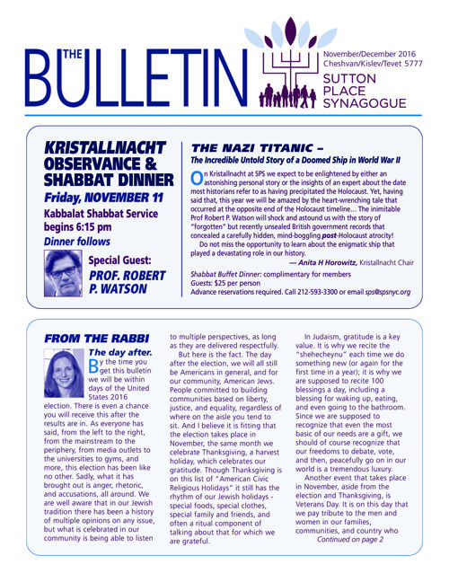 Sutton Place Synagogue NOV - DEC  2016  Bulletin
