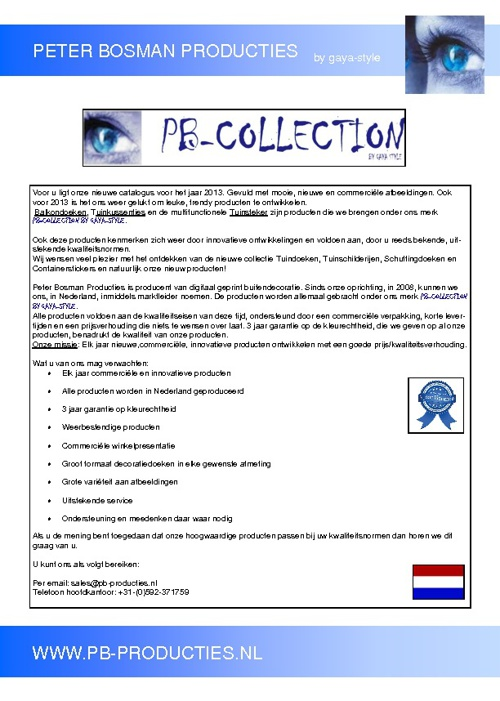 PB Producties Catalogus 2012