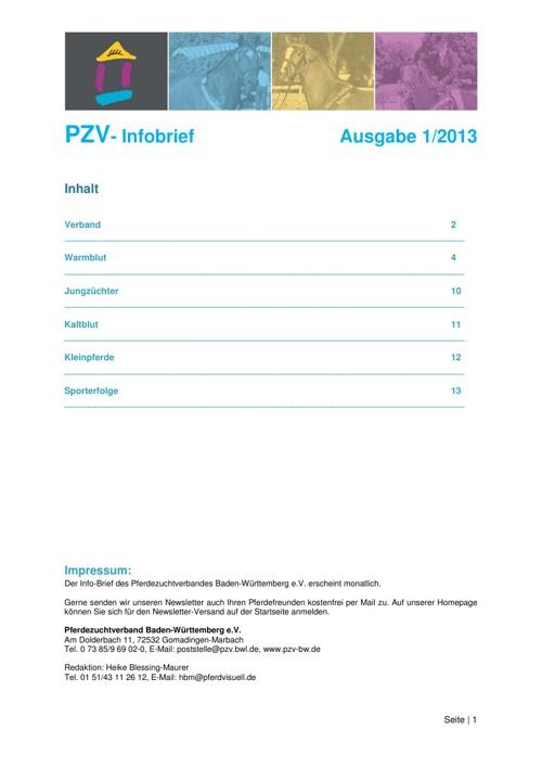 Info-Brief 1/2013 - Pferdezuchtverband Baden-Württemberg