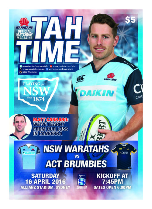 TAHS V BRUMBIES MATCH PROGRAM
