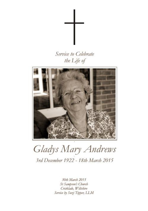 Gladys Andrews Order of Service
