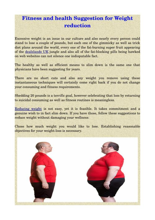 Fitness and health Suggestion for Weight reduction