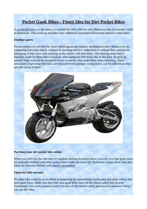 Pocket Gunk Bikes-- Finest Idea for Dirt Pocket Bikes