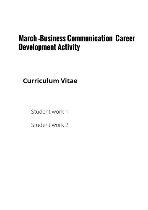 March Business Communication Career Development Activity -