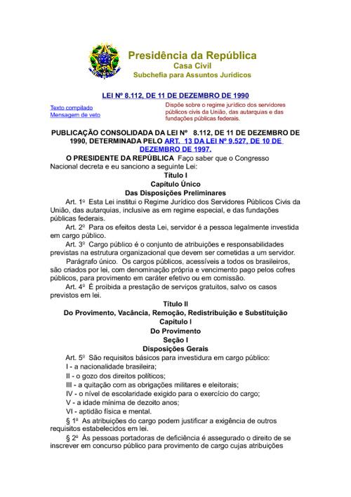 Regime Jurídico dos Servidores Públicos