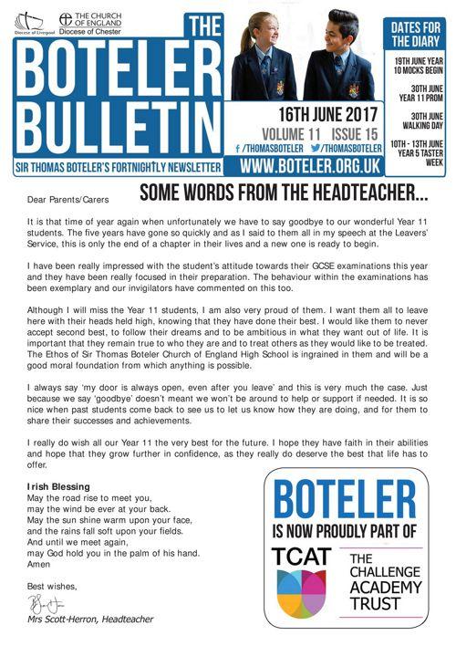 Boteler Bulletin 16th June 2017