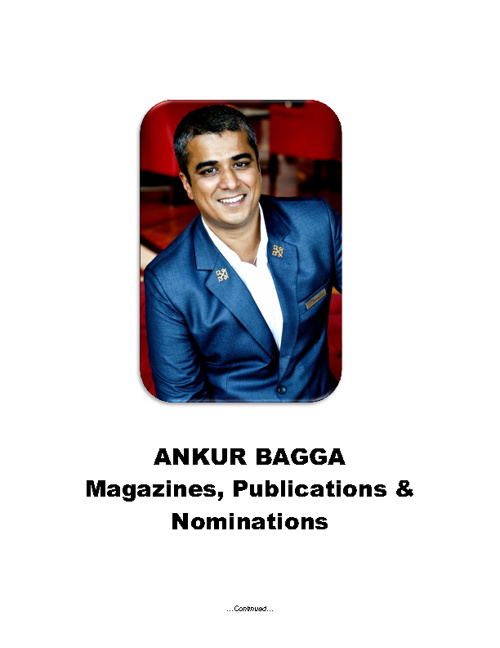 Copy of Ankur Bagga - Magazines, Publications and Nominations