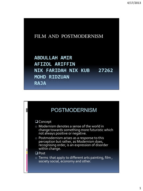 "Group 5 - In-Class-Seminar - ""Film and Postmodernism"""