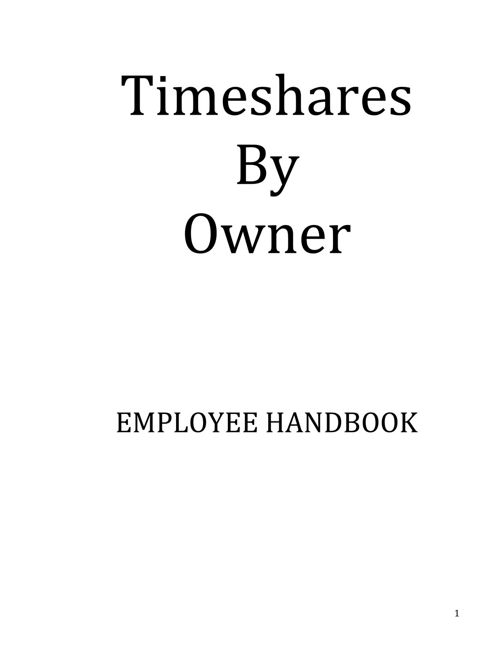Timeshares By Owner Employee Handbook
