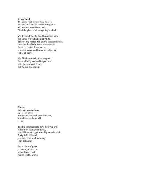 Free Verse Poem Final