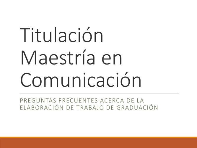 FAQ Titulación Maestría