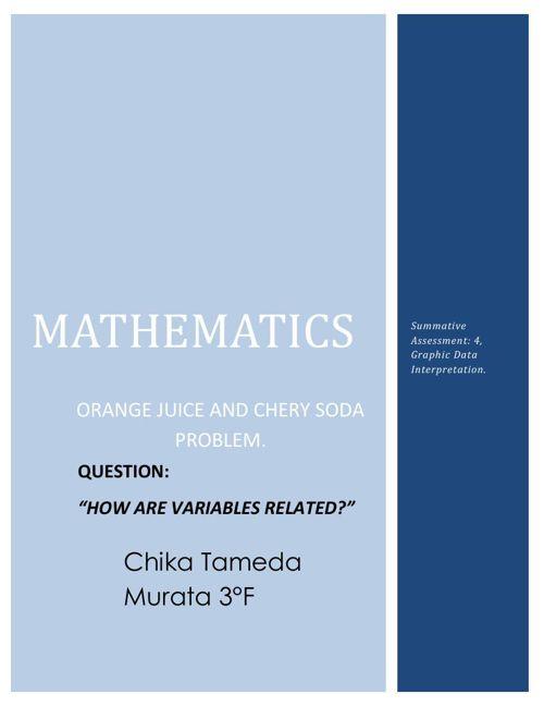 Math Summative Assessment 4: graphing