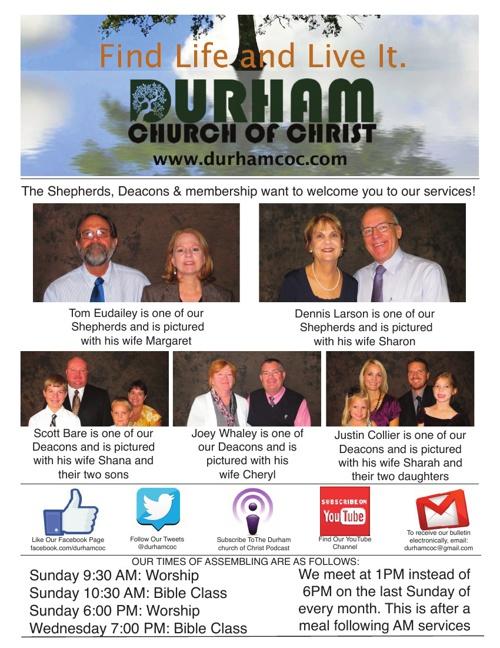 Durham church of Christ Bulletin 7-21-13