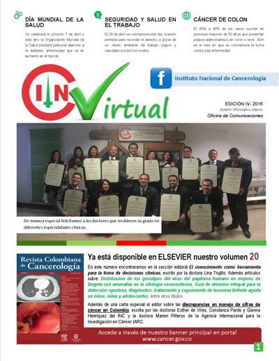 Boletín Virtual Institucional Abril 2016