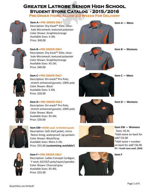 Student Store Catalog 15-16