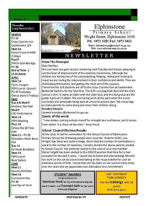Newletter Vol IV 23/3/2012